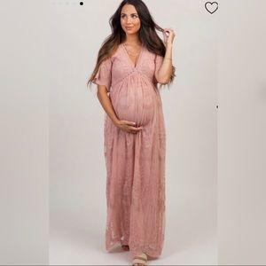 Pinkblush Lace Maternity Maxi Dress